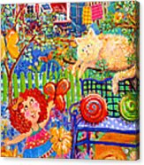 Storybook Girl And Cat Acrylic Print