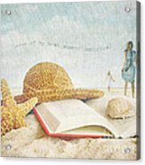 Straw Hat And Book In The Sand Acrylic Print by Sandra Cunningham