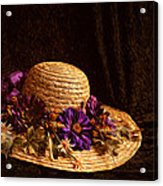 Straw Hat And Flowers Acrylic Print