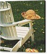Straw Hat On Chair Acrylic Print