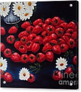 Strawberries And Daisies Original Painting Oil On Canvas Acrylic Print by Drinka Mercep