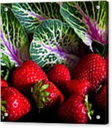 Strawberries And Kale. Acrylic Print