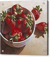 Strawberries In China Dish Acrylic Print by Timothy Jones