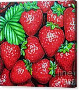 Strawberries Painting Oil On Canvas Acrylic Print by Drinka Mercep