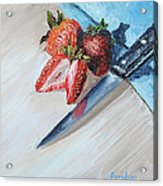 Strawberries With Knife Acrylic Print