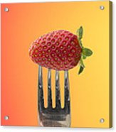 Strawberry On Fork Acrylic Print