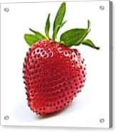Strawberry On White Background Acrylic Print by Elena Elisseeva