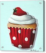 Strawberry Shortcake Cupcake Acrylic Print by Catherine Holman