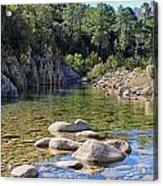 Stream And Rocks At Bavella In Corsica Acrylic Print