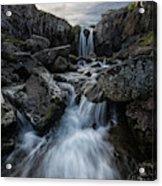 Stream Flows Over A Waterfall Acrylic Print