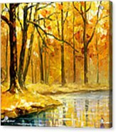Stream In The Forest - Palette Knife Oil Painting On Canvas By Leonid Afremov Acrylic Print