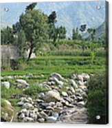 Stream Trees House And Mountains Swat Valley Pakistan Acrylic Print
