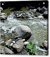 Stream Water Foams And Rushes Past Boulders Acrylic Print
