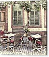 Street Cafe In Heidelberg Acrylic Print
