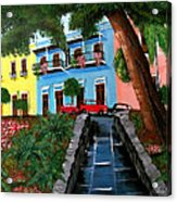 Street Hill In Old San Juan Acrylic Print by Luis F Rodriguez