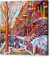 Street Hockey Game In Montreal Winter Scene With Winding Staircases Painting By Carole Spandau Acrylic Print