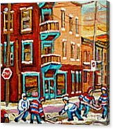 Street Hockey Practice Wilensky's Diner Montreal Winter Street Scenes Paintings Carole Spandau Acrylic Print