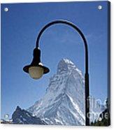 Street Lamp And Mountain Acrylic Print by Mats Silvan