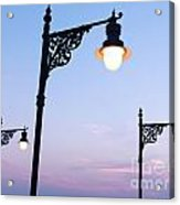 Street Lamps Over Sunset Sky Background Acrylic Print