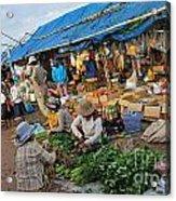 Street Market In Siem Reap Acrylic Print by Sami Sarkis