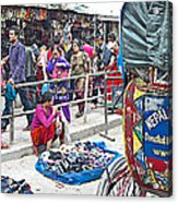 Street Market View From A Rickshaw In Kathmandu Durbar Square-nepal Acrylic Print