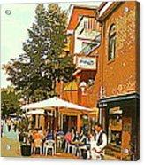 Street Musician Serenades The Terrace Umbrella Crowd At Ristorante Finzi Italienne Cafe Scene Acrylic Print