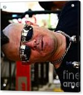 Street Performer Enjoying His Pipe Of Smoke 01 Acrylic Print by Bobby Mandal