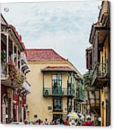 Street Scene In Old Town, Cartagena Acrylic Print