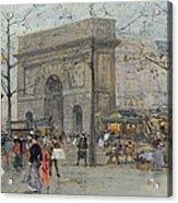 Street Scene In Paris Acrylic Print by Eugene Galien-Laloue