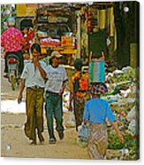Street Scene In Tachilek-burma Acrylic Print