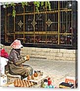 Street Shopkeeper In Lhasa-tibet Acrylic Print