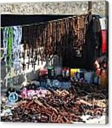 Street Vendor Selling Rosaries Acrylic Print by Amy Cicconi