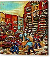 Streets Of Verdun Paintings He Shoots He Scores Our Hockey Town Forever Montreal City Scenes  Acrylic Print