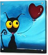 Stressie Cat And Her Love Balloon Acrylic Print