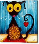Stressie Cat And The Tick Tock Acrylic Print