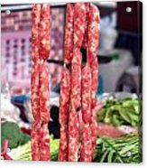 String Of Handmade Sausages Acrylic Print