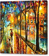 Stroll With My Best Friend - Palette Knife Oil Painting On Canvas By Leonid Afremov Acrylic Print