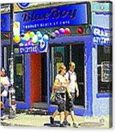 Strolling By The Blue Boy Frozen Yogurt Glacee Cafe Plateau Mont Royal City Scene Carole Spandau   Acrylic Print