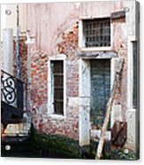 Stucco And Brick Canalside Building Venice Italy Acrylic Print