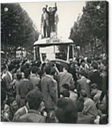 Student Clash With Police Is Boisterous Demonstration Acrylic Print