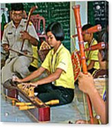 Students Playing Traditional Thai Instruments In Music Class At  Baan Konn Soong School In Sukhothai Acrylic Print