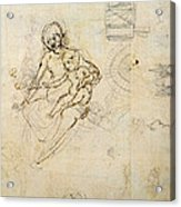 Studies For A Virgin And Child And Of Heads In Profile And Machines, C.1478-80 Pencil And Ink Acrylic Print