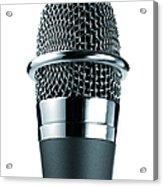 Studio Shot Of Microphone On White Acrylic Print