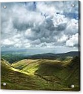 Stunning Large Panorama Landscape Of Brecon Beacons View From Pe Acrylic Print
