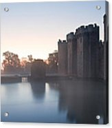 Stunning Moat And Castle In Autumn Fall Sunrise With Mist Over M Acrylic Print