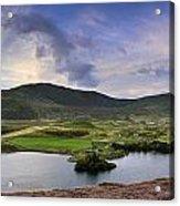 Stunning Sunrise Panorama Landscape Of Heather With Mountain Lak Acrylic Print