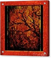 Stylized Cherry Tree With Old Textures And Border Acrylic Print