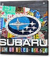 Subaru License Plate Map Sales Celebration Limited Edition 2013 Art Acrylic Print