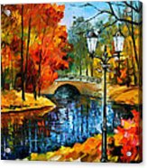 Sublime Park - Palette Knife Oil Painting On Canvas By Leonid Afremov Acrylic Print