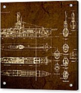 Submarine Blueprint Vintage On Distressed Worn Parchment Acrylic Print